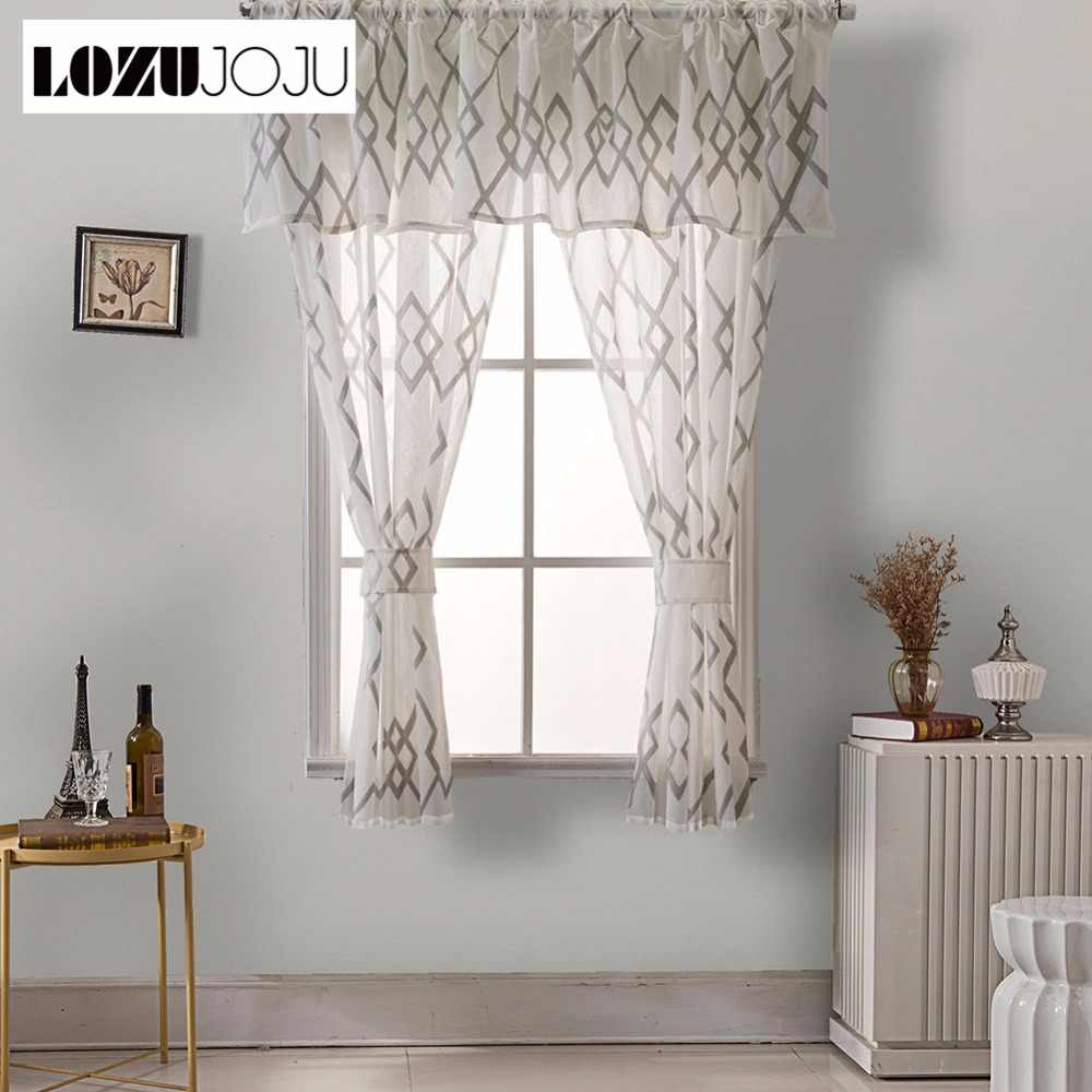 LOZUJOJU 3 beds short curtains sets plaid tulle drops for kitchen windows small size windows fabric blue brown roman curtain