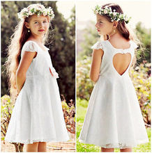 Baby Girls Dress Princess Party Wedding Lace Formal Dress Kids Dresses For Girl 2016 Summer Cap Sleeve Heart Cut Out Back Dress(China)