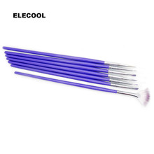 Hot 7pcs Nail Art Brushes Set Purple Nail Art Decorations Gel Painting Pen Nail Sticker Polish Equipment Brush Drawing Tool