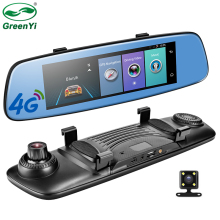 "GreenYi 4G 1080P Car DVR 7.84"" Touch Monitor Rear View Mirror with DVR and Waterproof Camera Android Dual lens WiFi DashCam GPS(China)"