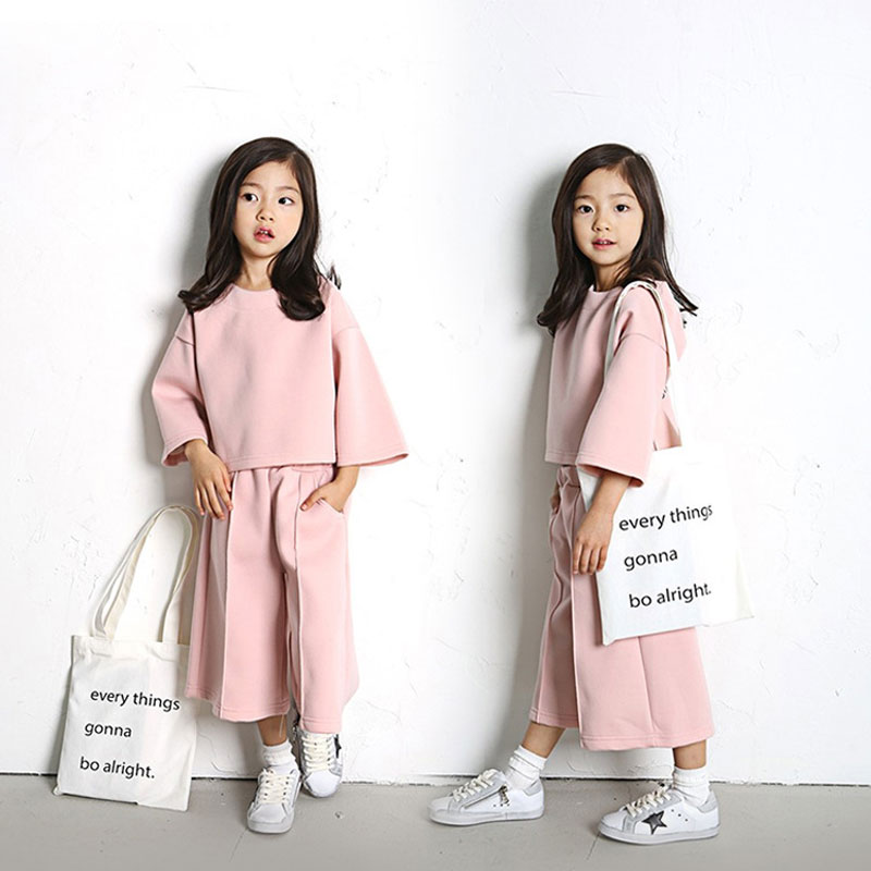 The New Long Sleeve Clothes+Pants Fashion 2017 Autumn Children Suit For Girls Cotton Two Set Solid Color Kids Clothing Hot Sale<br><br>Aliexpress