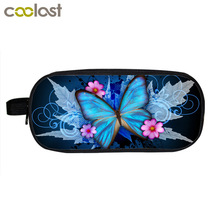 Beautiful Butterfly Flower Cosmetic Cases Pencil Holder Children School Supplies Case Kids Floral Make Up Bag