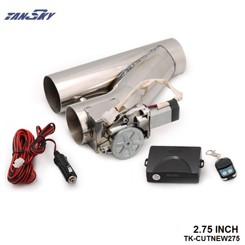 """TANSKY - 2.75"""" Stainless Steel Motorized Electric Exhaust Cutoff Bypass Valve Cutout+Remote TK-CUTNEW275"""
