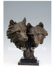 ATLIE BRONZES  handmade antiques PURE Bronze Statue Wolf bust Heads sculptures Signed by P.J Mene