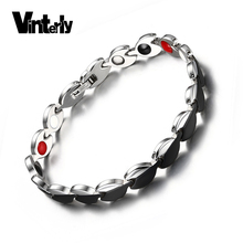 Vinterly Jewelry Women Black Infrared Germanium Negative Ion Stainless Steel Magnetic Bracelet For Woman Hand Link Chain