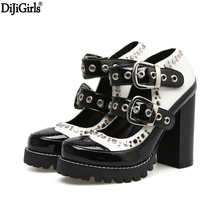 Dijigirls Shoes Woman High Heel Pumps Blue Woman Shoes Thick Heels Platform Shoes Ladies Vogue Rivets Buckle Ankle Strap Heels(China)