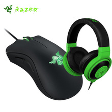 Razer Kraken Neon Over-Ear Gaming Headphone and Razer DeathAdder 2013 6400DPI Gaming Mouse For Phone Computer PC + Original box(China)