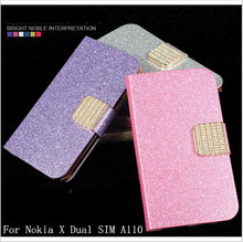 Fashion Newest Shimmering Powder PU Leather Phone Case Cover For Nokia X Dual SIM A110 Flip Phone Case With Card Slot