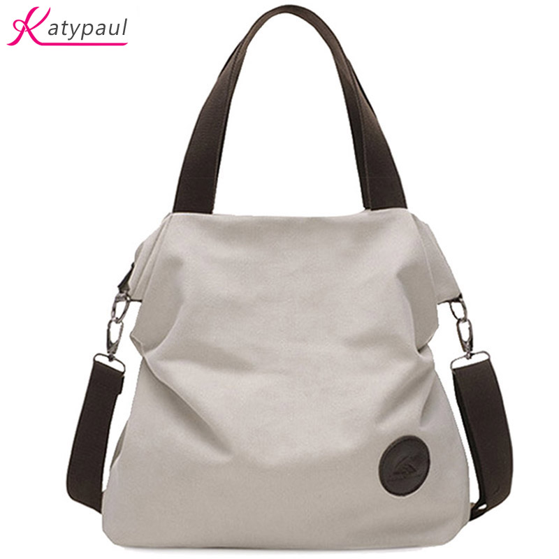 2017 Casual Beach Woman Canvas Bags Women Shoulder Bag Female HandBags Crossbody Bag For Women White Tote Bags Bolsa Feminina(China)