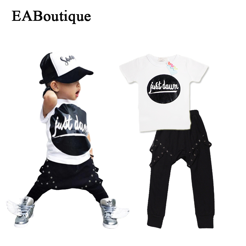EABoutique Summer New Fashion Rock Punk style Toddler baby boy clothes set T-shit with Harem Pants 2 piece set retail<br><br>Aliexpress