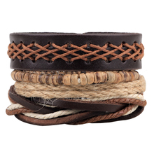 2017 New Men Bracelet Handmade Adjustable Multilayer Woven Leather Rope Bracelet Men Bohemian Vintage Charm Bracelets(China)