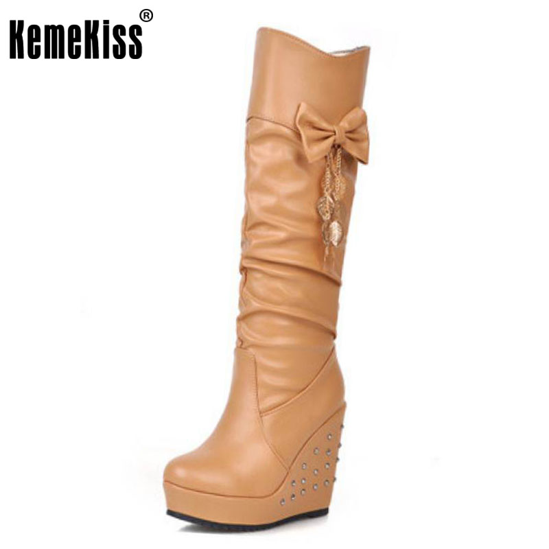 KemeKiss women bowtie wedge over knee boot winter warm long boot platform rivets botines mujer footwear shoes P21474 size 33-43<br>