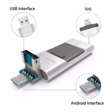 For Apple iPhone 5S SE 6 6S Plus 7 Plus OTG USB Flash Drive 3 In 1 Pen Drive Metal Pendrive 16G 32G 64G 128GB(China)