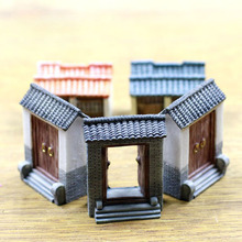 Min Order $10 Artificial Mini China Door History Building Micro Landscaping Decoration Small World Craft DIY Accessories(China)