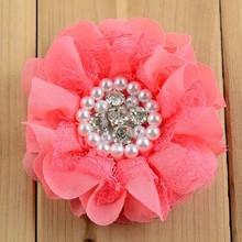 10pcs 8CM Shabby Mesh Lace Chiffon Flower 5.5cm Alligator Hair Clips with Pearl Rhinestone,Girls Flower Clips Coral Peach etc.