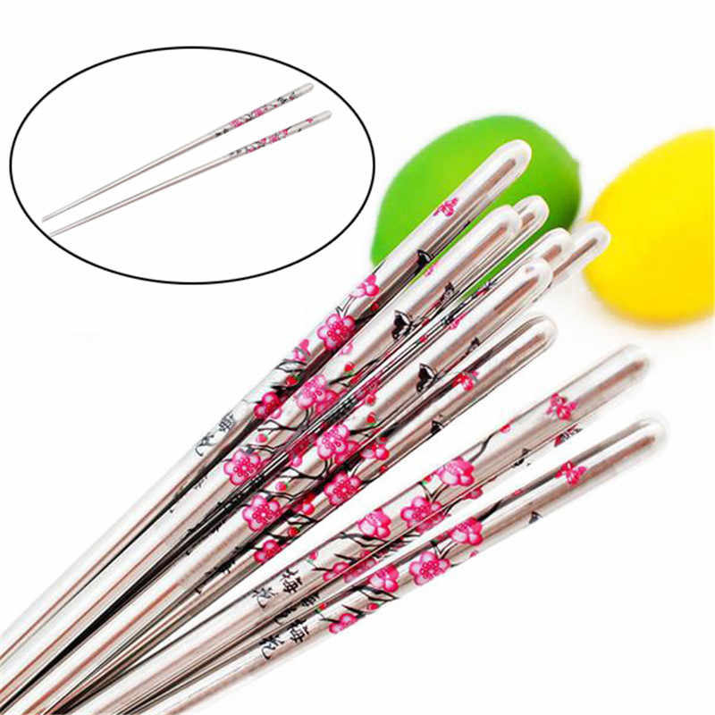5 Pairs/lot Chopsticks Plum Flower Pattern Minion Chop Sticks Palillos Metal Chopsticks Korean Stainless Steel Chopstick