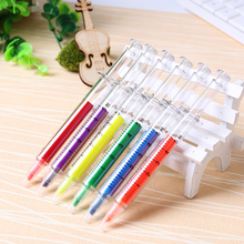 Kawaii Creative Fluorescent Syringe Watercolor Highlighters Marker Pen Korean Stationery School Supplies 6PCS/lot(China)