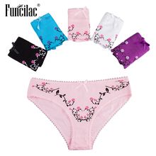 Buy FUNCILAC Female Underwear Plus Size Solid Pink Print Panties Women Striped Shorts Sexy Lace Briefs Intimate Goods 5Pcs/Lot