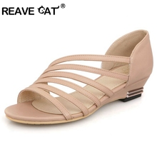 REAVE CAT Stripe New Women's Sandals Summer Fashion Sweet Dress sandals hollow low heel shoes lady casual shoes size 33-43 QL442