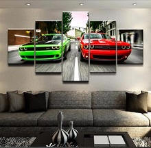 Modular Canvas HD Prints Wall Art Pictures 5 Pieces Challenger Green Red Cars Landscape Poster Home Decor For Living Room Frame(China)