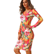 2017 Robe Fashion Women's clothing Elegant Casual package hip sexy Dress Sheath Bodycon Long Sleeve Dresses plus size Vestidos(China)