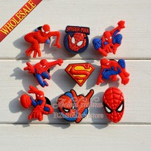 Free Shipping New Spiderman 100pcs/Lot PVC shoe charms for Bracelet  for Kids Gifts Collection Office & School Supplies