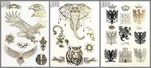 3 design set  Gold Temporary Tattoos Changing Color in the sun Jewelry Flash Body Art tiger elephant Flash tattoo for girl boy