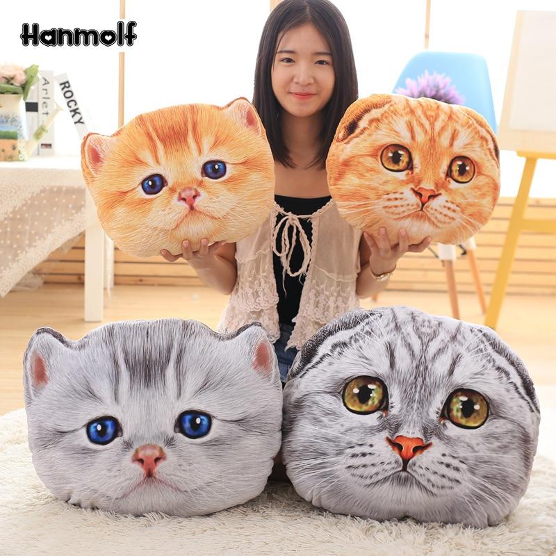 3D Animal Cat Shape Pillow Sofa Car Office Cushion Stuffed Plush Child