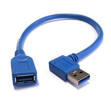 90 degree elbow USB3.0 male parent data transmission line for computer Router USB 3.0 male to female cable 20cm Blue & white