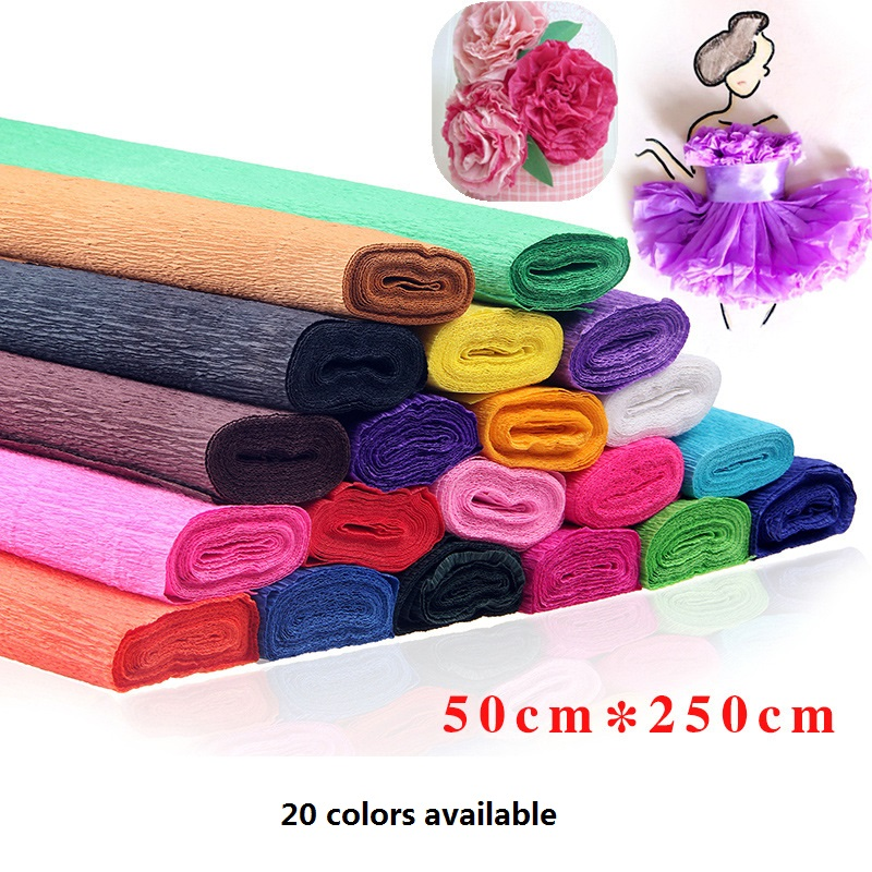 1 X Yellow Gift Flower Craft Decoration Wrapping Crepe Paper Roll 50cm X 2.5m