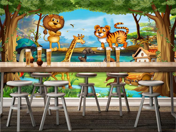 HTB1HZ9rRFXXXXa5XpXXq6xXFXXXB - 3D Wall Murals Beautiful Cartoon Forest Animal World Photo Wallpaper For Children Room Papier Peint Enfant Eco-Friendly Frescoes