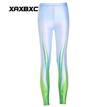 New 3600 Sexy Girl Pencil Pants Green leaf Grass Plant grassland Printed Elastic Slim Fitness Workout Women Leggings Plus Size