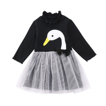 Swan Black Lovable Long Sleeve Kids Baby Girl Clothes Cotton Lace Party Formal Tulle Dress Outfit Pageant(China)