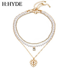Buy H:HYDE Vintage Bohemia 3 Layers Choker Necklaces Women Simulated Pearl Full Rhinestone Chain Necklace Bijoux Cross Pendant for $3.25 in AliExpress store