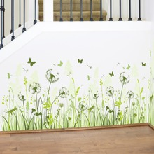 Dandelions Flowers Butterflies Green Leaves Wall Sticker Decal Home Paper Removable Art Picture Murals kids Baby Room Decoration
