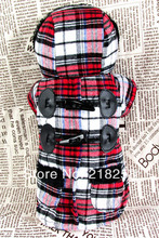 New Arrival Plaid coat horn button Pet Dogs Cotton Coat  Free Shipping By china post Dogs clothes