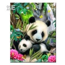 Животные Любовь матери мозаика ремесел DIY картина, вышитая бисером панда смолы Стразы Полный Круглый бриллиант вышивка rz189(China)
