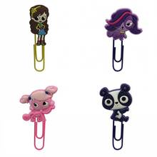 4pcs pet shop cartoon pvc bookmark holder metal paper clip Book marker School Office Supplies Stationery Book Page Holder(China)