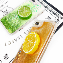 TPU Side Quicksand DIY Fruit Case Cover For Apple iPhone 7 7 Plus 6 6S Plus Case Silicone 7 Series Orange Lemon Case For Phone