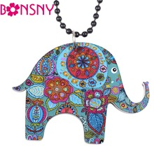 Bonsny Elephant Necklace Acrylic Long Chain Pendant 2016 news Accessories Animal Collar Colorful Design Girls Fashion Jewelry(China)