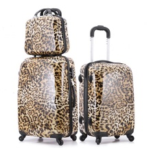 "New 20"" 24"" Hot Sales Women Leopard Grain ABS Trolley Suitcase High Quality Zipper Rolling Luggage Sets Trunk Boarding Bag"