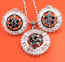 Delightful Superb Flowers Glamorous Black Onyx Fashion Silver Sets Earrings Pendant Free Shipping & Jewelry Bag S8316