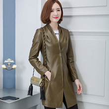 2017 Spring Army Green Women Long Genuine Sheepskin Trench Coat Fashion Popular Slim Fit Female Real Leaher Jacket FREE SHIPPING(China)