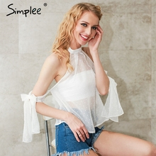 Buy Simplee Halter shoulder blouse shirt women tops Transparent white chiffon blouse Backless summer blouse chemise femme blusas