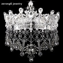 zerongE jewelry wholersale Queen's Crown Free Shipping Full Circle round crown Silver Prom hair accessoires tiara crown