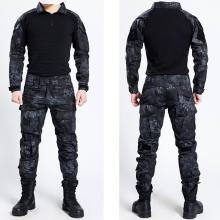 Tactical Military Bdu Uniform Clothing Army Tactical Shirt Jacket Pants With Knee Pads Camouflage Hunting Clothes Kryptek Black(China)