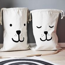 Large Canvas Printing Recycle Laundry Storage Baby Toys Bag Clothes Organizer Home collect 66*45CM