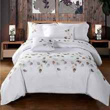 100% Cotton 60S Tribute Silk Bedding Set White Embroidered Duvet Cover Set King Queen Size 4pcs Hotel Bed Sheets Pillowcases(China)