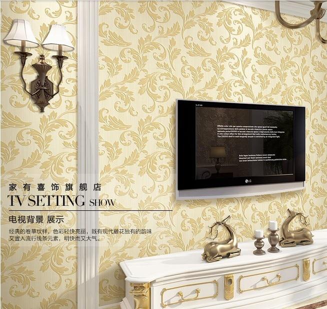 10m*53cm European grass non-woven wallpaper Gen trumpet creeper bedroom living room TV setting wall wallpaper,wall stickers<br><br>Aliexpress