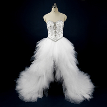 Real Photo White Wedding Dresses Crystal High Low Bridal Gowns Tulle Short Front Long Back Rhinestone Vestidos de noiva R01